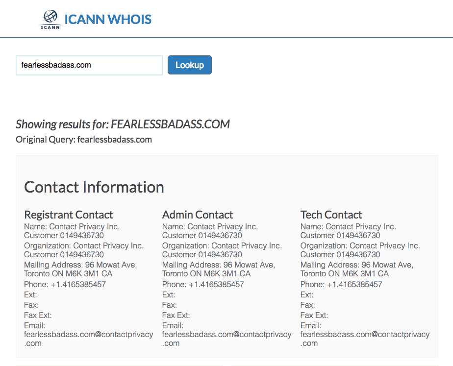 Private domain registration example