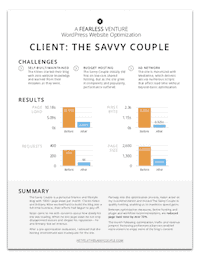 WordPress Website Optimization one-sheet case study - blogger Kelan Kline of The Savvy Couple