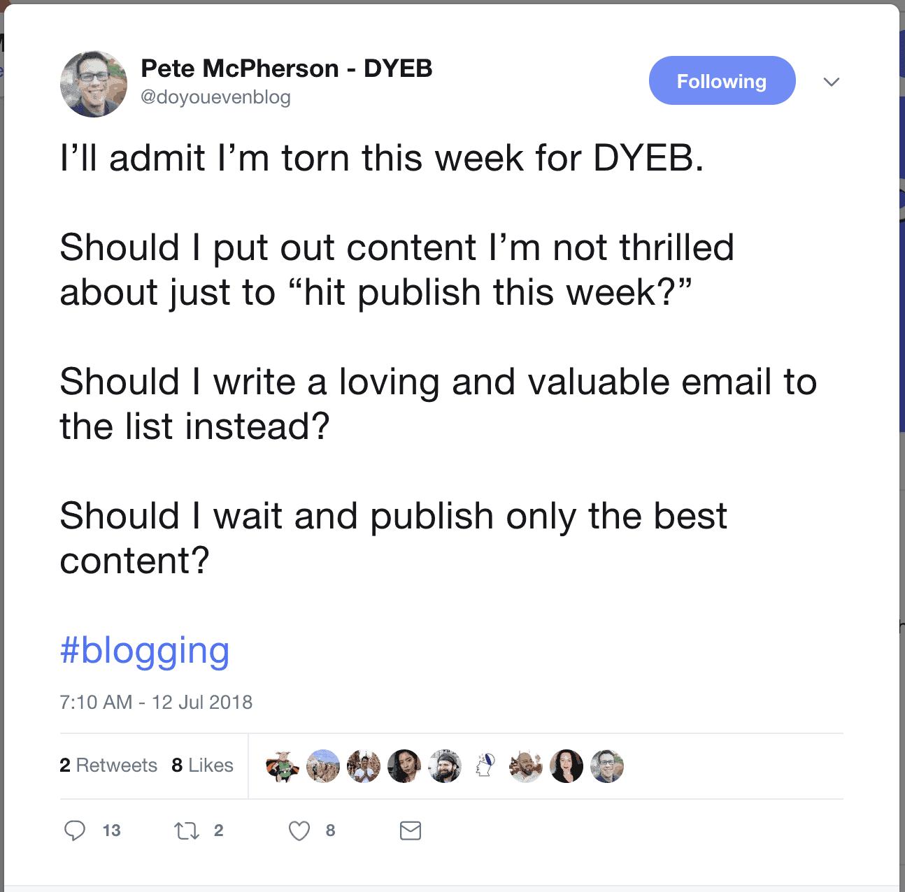 Pete's content dilemma