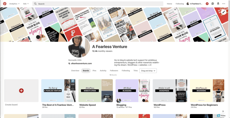 Screenshot showing Pinterest boards for my A Fearless Venture account.
