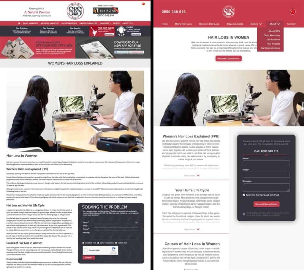 Adhesion website redesign before & after – more whitespace
